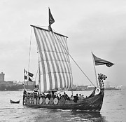 Vikings Photo Prints - The VIKING SHIP - NEW YORK - 1893 Print by Daniel Hagerman
