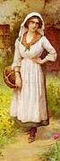 Flower Basket Posters - The Village Belle Detail Poster by William Affleck