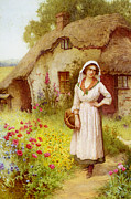 Flower Basket Posters - The Village Belle Poster by William Affleck