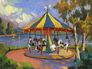 Merry-go-round Painting Originals - The Village Carousel by Diane McClary