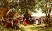 Country Scene Digital Art Prints - The Village Festival Print by Jean Charles Meissonier