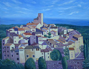 Bluesky Painting Prints - The Village on the Hill Print by Mary Stubberfield