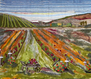 Fiber Art Paintings - The Vineyard by Christine Lathrop