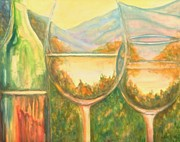 Wineglasses Paintings - The Vineyard by Linda Kriegel