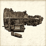 Crankshaft Framed Prints - The Vintage Gearbox - Sepia Framed Print by Martin Bergsma