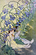Personification Posters - The Violets Lively Flowers Poster by Firmin Bouisset