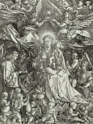 Woodcut Paintings - The Virgin and Child surrounded by angels by Albrecht Durer or Duerer