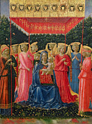 Enthroned Paintings - The Virgin and Child with Angels by Fra Angelico