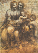 Jesus  Pastels Posters - The Virgin and Child with Saint Anne and the Infant Saint John the Baptist Poster by Leonardo Da Vinci