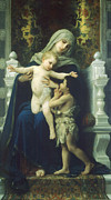 Virgin Mary Posters - The Virgin Baby Jesus and Saint John the Baptist Poster by William Bouguereau