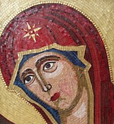 Fine Byzantine Mosaic Icons Mixed Media Posters - The Virgin Poster by Liza Wheeler