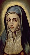Old Face Framed Prints - The Virgin Mary Framed Print by El Greco Domenico Theotocopuli