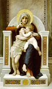 Religious Art Digital Art Prints - The Virgin the Baby Jesus and Saint John the Baptist Print by William Bouguereau