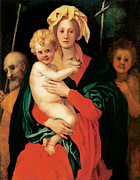 Baptist Paintings - The Virgin with Child St Joseph and St John the Baptist by Jacopo Pontormo