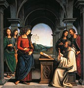 St John The Evangelist Framed Prints - The Vision of St Bernard Framed Print by Pietro Perugino