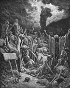 Christian Drawings Posters - The Vision of the Valley of Dry Bones Poster by Gustave Dore