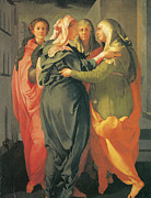 Visitation Framed Prints - The Visitation Framed Print by Jacopo Da Pontormo