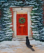 Cat Images Paintings - The Visitor  by Katharine Green