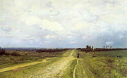 Perspective Painting Prints - The Vladimirka Road Print by Isaak Ilyich Levitan