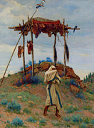 Burial Grounds Paintings - The Voice of the Great Spirit by Joesph Henry Sharp