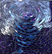 Blue Glass Glass Art Framed Prints - The Vortex Framed Print by Alison Edwards