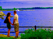 Summer Along The Canal Paintings - The Vow Lovers Forever By The Lake Summer Romance St Lawrence Shoreline Scenes Carole Spandau Art by Carole Spandau