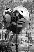Streetscenes Photos - THE W T C PLAZA FOUNTAIN SPHERE in BLACK AND WHITE by Rob Hans