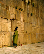 Religious Art Painting Prints - The Wailing Wall Print by Jean-Leon Gerome