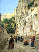Stone Walkway Framed Prints - The Wailing Wall Jerusalem Framed Print by Gustav Bauernfeind