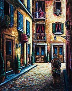 European Street Scene Paintings - The Walk Home by Kevin Richard
