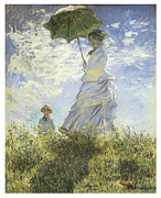 Victorian Era Woman Framed Prints - The Walk Lady with a Parasol Framed Print by Claude Monet