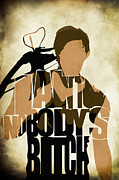 Original Digital Art Digital Art Prints - The Walking Dead Inspired Daryl Dixon Typographic Artwork Print by Ayse T Werner