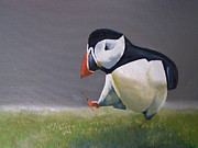 Puffin Paintings - The Walking Puffin by Eric Burgess-Ray