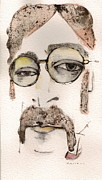 Watercolor Mixed Media Framed Prints - The Walrus as John Lennon Framed Print by Mark M  Mellon