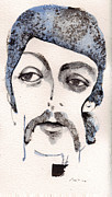 Watercolor Mixed Media Originals - The Walrus as Paul McCartney by Mark M  Mellon