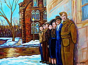 Family Time Framed Prints - The War Years 1942 Montreal St Mathieu And De Maisonneuve Street Scene Canadian Art Carole Spandau Framed Print by Carole Spandau