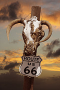 Highway Digital Art Prints - The Warmth of Route 66 Print by Mike McGlothlen