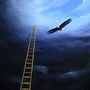 Stairway To Heaven Painting Posters - The Warrior And The Eagle Poster by Ric Nagualero