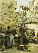 Two People Metal Prints - The Washerwomen Metal Print by Peder Monsted