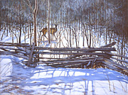 Split Rail Fence Painting Prints - The Watcher in the Wood Print by Richard De Wolfe