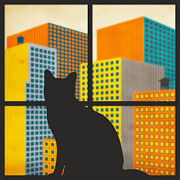 Cats Digital Art Prints - The Watcher Print by Jazzberry Blue