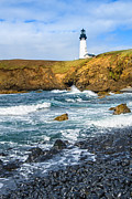 Jamie Pham Metal Prints - The Watcher - Yaquina Head Lighthouse on the Oregon Coast. Metal Print by Jamie Pham