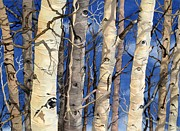 Aspen Tree Paintings - The Watchers by Barbara Jewell