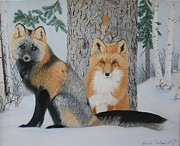 Fox Pastels Prints - The Watchers Print by Laurie Cartwright