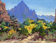 Zion National Park Pastels - The Watchman Vista by Patricia Rose Ford