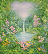 Water Garden Paintings - The Waterfall by Hannibal Mane