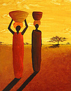 Watering Paintings - The Watering Hole African Women by MADART by Megan Duncanson