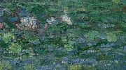Amazing Painting Prints - The Waterlily Pond Green Harmony Print by Claude Monet