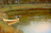 Canoe Metal Prints - The Waters Edge Metal Print by Lori  McNee