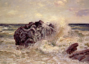 Crashing Surf Paintings - The Wave Ladys Cove Langland Bay by Alfred Sisley
